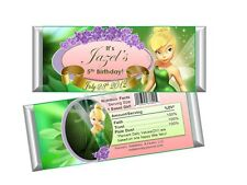 Tinkerbell candy Bar Wrappers - Birthday Favors - Set of 12