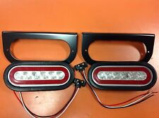 "2 LED 6"" Oval Truck Trailer S/T/T Light Kit With Clear LENS RED LED"