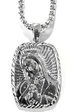 """Hip Hop Silver Platinum Praying Mary Jesus Necklace with 36"""" Deluxe Box Chain"""