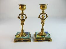 Antique Pair French Sevres Ormolu Candlesticks with 8 Hand Painted Vignettes