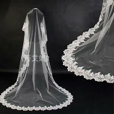 Chapel Length Applique Edge Wedding Bridal Veil Brides Accessories Veils White