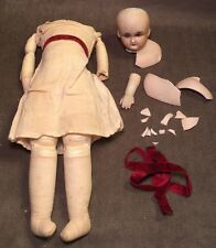 Rare Antique Kling Bisque Doll Leather Cloth Body Cork/Sawdust Parts/Repair 13""