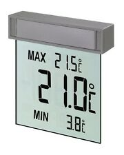Digital Window Thermometer Max Min Temperature Transparent Screen Vision New