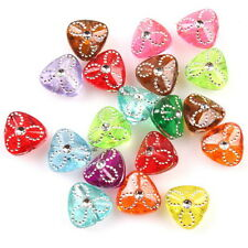 250x 112135 New Colorful Heart Carved Flower Acrylic Bead Fit Bracelets Hotsale