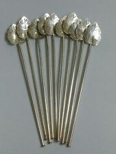 Set of 10 Sterling silver Julep/Ice Tea Leaf Motif Sipping Spoons