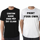 MAKE YOUR OWN T-SHIRT CUSTOM FUN PARTY MENS TEE SHIRTS WHITE BLACK GYM JOKE