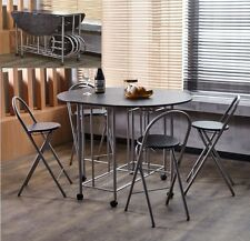 Extendable Dining Table Kitchen Bar Drop Leaf Folding Chairs Modern Stools Set
