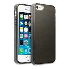 Slim Rubber Gel Case Cover for New iPhone 5/5S/SE - Smoke Black