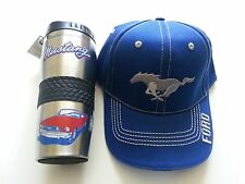 (2) NEW FORD MUSTANG HAT- CAP AND COFFEE CUP THERMOS  GREAT FATHERS DAY GIFT