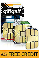 GIFFGAFF O2 MICRO SIM CARD PAY & GO FOR SAMSUNG GALAXY S7 S6 NOTE £5 FREE CREDIT