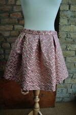 Pink French connection UK 12 metallic geometric vintage look mini skater skirt