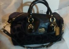 COACH Madison Sabrina Black Op Art Sateen Signature/Satchel/Shoulder Bag