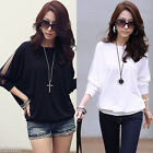 Summer Women Sexy Batwing Sleeve Loose Chiffon Sheer Color T-shirt Blouse Tops