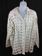 Luiselle Moda Positano Fashion Italy Transparent Beige Linen Button Font Shirt M