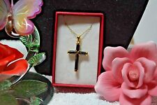 Treasures from the Orient Black Jade Cross Pendant 14K YG in 925 SS TGW 20.00 Ct
