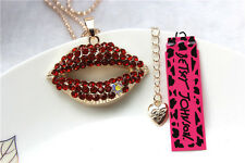 Betsey Johnson Fashion Necklace Long Red lips Crystal Pendant Sweater Chain #40