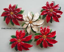 VINTAGE HOLIDAY POINSETTIA 5pc FLOWER PIN LOT METAL ENAMEL HIGH GLOSS FINISH