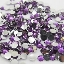 Diy 800pcs 4mm Facets Resin Rhinestone Gems Flat Back Crystal beads purple ZY1