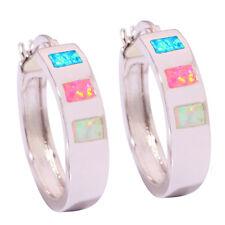 Blue Pink & White Fire Opal Women Jewelry Gems Silver Hoop Earrings 25mm OH2365