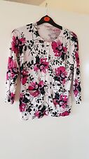 OASIS White Multi Floral Button Cardigan UK S 8-10