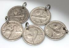 NEW ZEALAND SILVER THREE PENCE COIN CHARM for BRACELET Dated 1933 to 1942