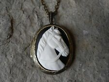 WHITE (ON BLACK) HORSE CAMEO LOCKET - ANTIQUE BRONZE, VINTAGE LOOK, UNIQUE