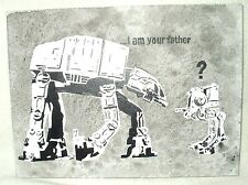 Canvas Painting Star Wars Banksy I Am Your Father AT-AT Art 16x12 inch Acrylic