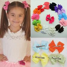 10Pcs Boutique Big Girls Baby Hair Bows  Clips Grosgrain Satin Multi-Colors Gift