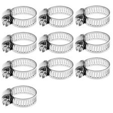 """10x 1/2""""-3/4"""" Stainless Steel Adjustable Drive Hose Clamp Fuel Line Worm Clip"""