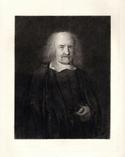 "Handsome 1800s Antique John Masey Wright Etching ""Serious Thomas Hobbes"" COA"