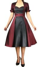 Burgundy Black Swing Dress Rockabilly Retro Anime Size 14 XL