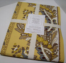 "Williams Sonoma Yellow Brown Provencal Floral Cotton Dinner Tablecloth 70""X108"""