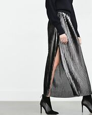 NWT ZARA Collection Metallic Maxi Accordion Pleated Skirt with Slit SMALL - rare
