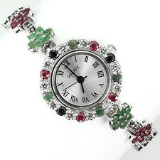 Sterling Silver 925 Round Faceted Emerald, Sapphire & Ruby Floral Watch 7.5 Inch