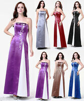 Long Satin Wedding Evening Formal Party Ball Gown Prom Bridesmaid Dress 6-18