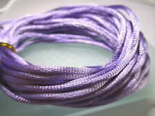 5 Metres Beautiful Lilac Satin Braided Cord/Bracelet/Jewellery/Charms/Crafts 2mm