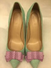 J Crew Collection Contessa Snakeskin Bow Pumps Sz 7.5 Vivid Aqua, $278, With Box