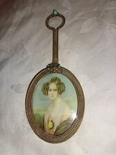 ANTIQUE VICTORIAN FRENCH LADY GOLD GILT ORMOLU FILIGREE JEWELED MINIATURE FRAME