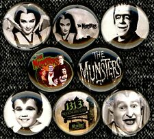 The Munsters x 8 NEW pins button badge herman lily eddie grandpa 1313 halloween