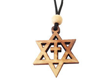 Hand-crafted Olive Wood STAR OF DAVID CROSS Pendant Necklace, Holy Land Imports