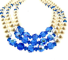 """Blue Crystal Pearl Triple Strand Necklace 2x15"""""""