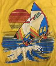 True Vintage 70s 80s NOS Graphic Beach Windsurfing Surf Skate Thin T-Shirt L