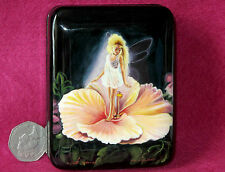 Russian small LACQUER hand painted SLIGHT SECONDS Box BUTTERFLY FAIRY BLOND GIRL