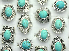 5pcs Wholesale Mixed Lots intage Gemstone Siler Plated Turquoise Rings Jewelry