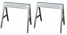 Metal Steel Folding Saw Horse Sawhorse Portable Work Bench Table Tool 2 Pack Set