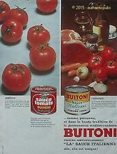 PUBLICITE BUITONI SAUCE TOMATE ITALIENNE ROUGE CUISINE DE 1969 FRENCH AD PUB