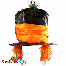 Adults Alice in Wonderland Mad Hatter Hat & Wig Fancy Dress Costume Accessory