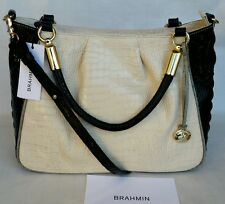 New BRAHMIN Ruby Ivory Tri-Texture Leather Satchel Bag
