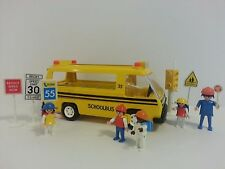 Vintage Playmobil System School Bus #3170 Street Signs Children Geobra HTF