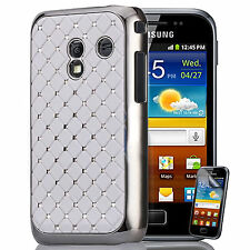 White Diamante Case Cover for Samsung Galaxy Ace Plus S7500 + Screen Protector